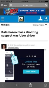 Uber ad screenshot of contextual ad